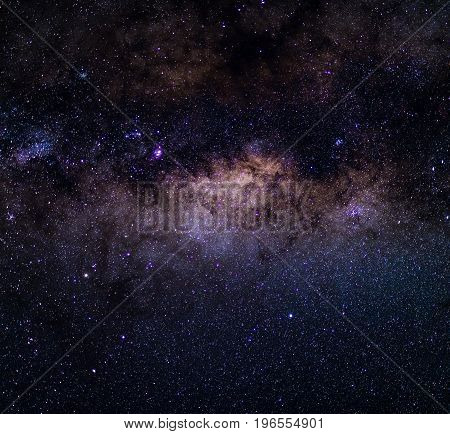 The Milky Way captured from the Southern Hemisphere with details of its colorful core outstandingly bright.
