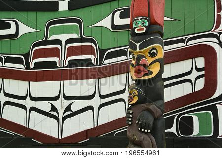Victoria BC,Canada,April 23rd 2014.First Nations artwork and totem pole at Thunderbird Park in Victoria BC.Come to Victoria and make memories.