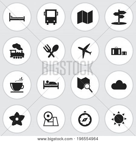 Set Of 16 Editable Holiday Icons. Includes Symbols Such As Solar, Aircraft, Navigation And More