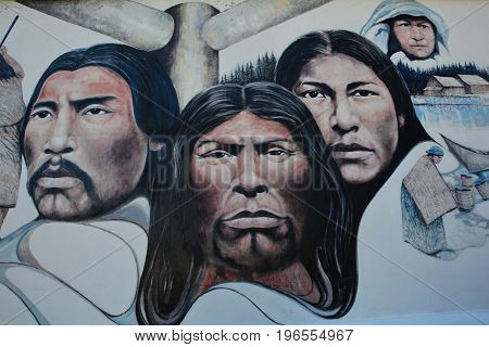 Chemainus BC,Canada,August 29th 2016.A wall mural depicting First Nation people,  culture and ways of life.Native leaders and elders  high lite the mural in Chemainus BC.Come to Chemainus and enjoy BC.