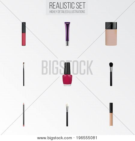 Realistic Concealer, Mouth Pen, Varnish And Other Vector Elements