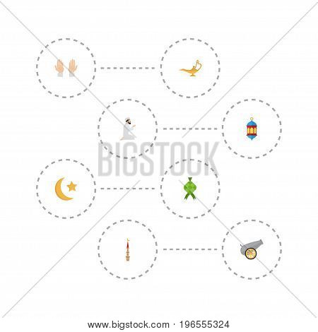 Flat Icons Artillery, Islamic Lamp, Malay And Other Vector Elements