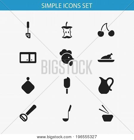 Set Of 12 Editable Food Icons. Includes Symbols Such As Eskimo Pie, Berry, Spatula And More