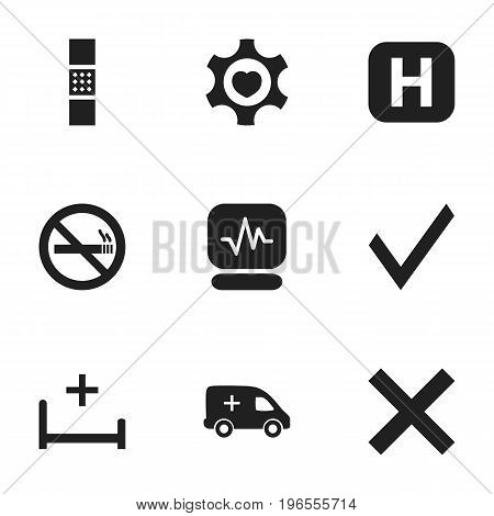 Set Of 9 Editable Care Icons. Includes Symbols Such As Clinic Room, Mark, Wound Band