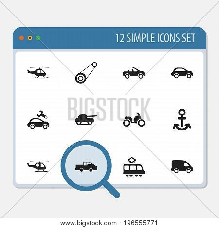 Set Of 12 Editable Transport Icons. Includes Symbols Such As Carriage, Car Vehicle, Delivery And More