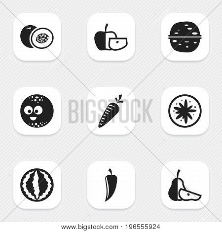 Set Of 9 Editable Cookware Icons. Includes Symbols Such As Smiling Ball, Chili, Nectarine And More