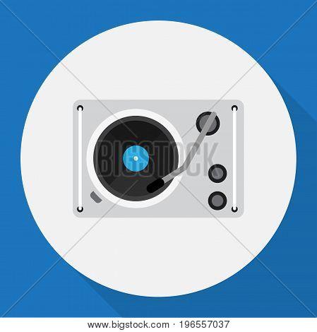 Vector Illustration Of Tech Symbol On Gramophone Flat Icon