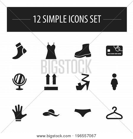 Set Of 12 Editable Shopping Icons. Includes Symbols Such As Madam, Direction, Hosiery And More