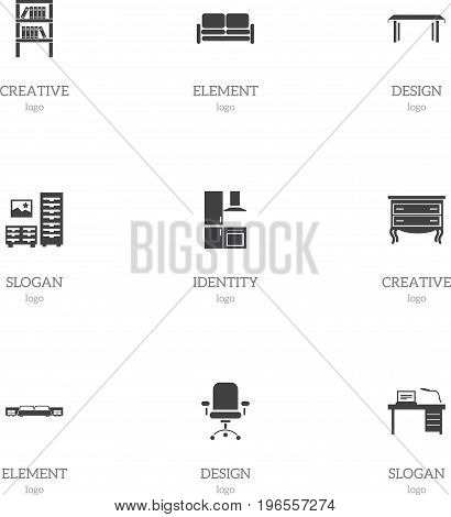 Set Of 9 Editable Interior Icons. Includes Symbols Such As Interior, Cuisine, Trestle And More