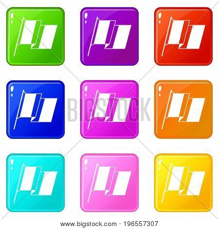 France flag icons of 9 color set isolated vector illustration