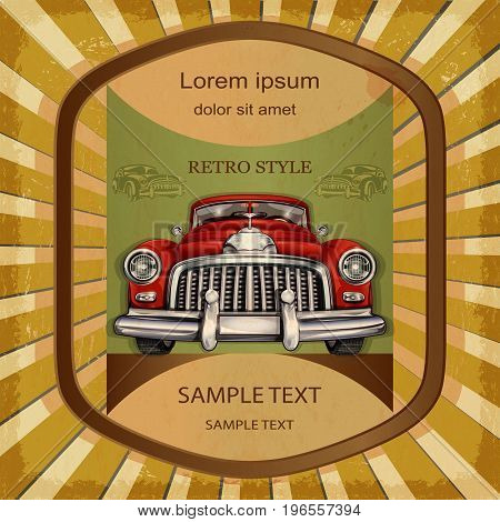 The vintage car label template retro style