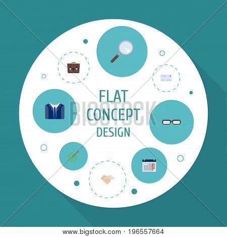 Flat Icons Calendar, Goal, Portfolio And Other Vector Elements