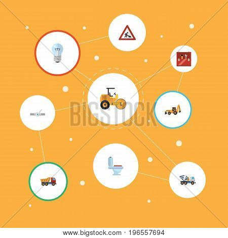 Flat Icons Steamroller, Van, Restroom And Other Vector Elements