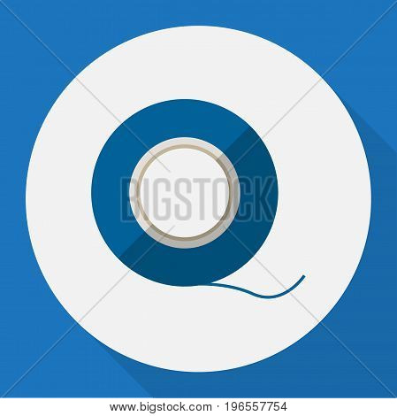 Vector Illustration Of Electric Symbol On Insulating Tape Flat Icon