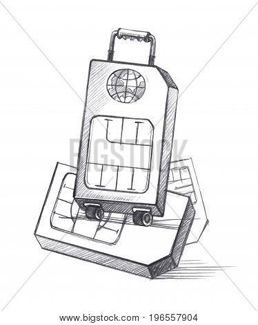 SIM-card in the form of a suitcase on wheels as a symbol of distant travels. Graphic linear tonal drawing by slate pencil. Sepia toned paper.. Isolated on white background