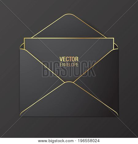 Black vector envelope template. Black opened envelope with golden elements, lying on a red background. Realistic mockup.