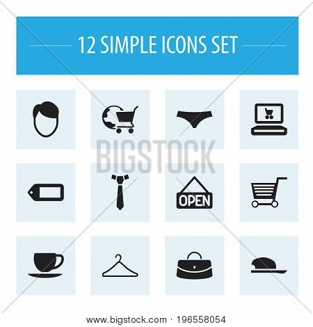Set Of 12 Editable Shopping Icons. Includes Symbols Such As Bonnet, Necktie, Web Trading And More
