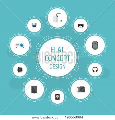 Flat Icons Microprocessor, Laptop, Presentation And Other Vector Elements