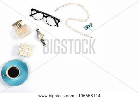 Arrangement of luxury woman things on white background, copy space, overhead