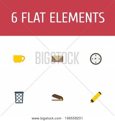 Flat Icons Watch, Trash Basket, Puncher And Other Vector Elements