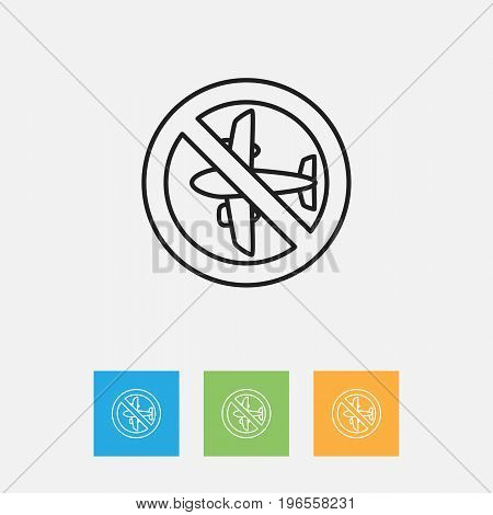 Vector Illustration Of Climate Symbol On Airplane Forbidden Outline