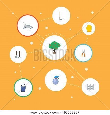 Flat Icons Tools, Fence, Pruner And Other Vector Elements