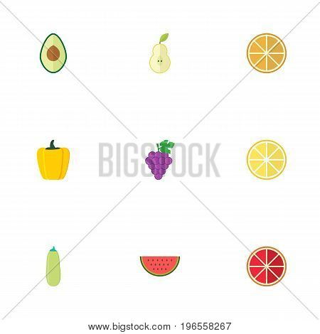 Flat Icons Pumpkin, Bulgarian Bell, Cluster And Other Vector Elements