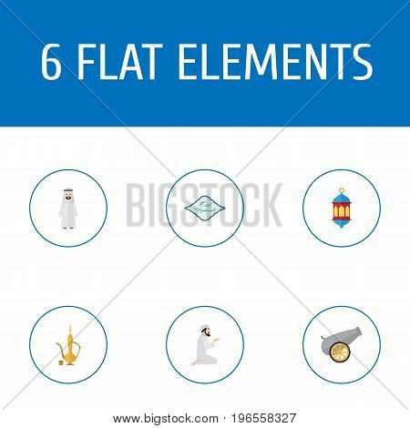 Flat Icons Arabian, Islamic Lamp, Arabic Calligraphy And Other Vector Elements