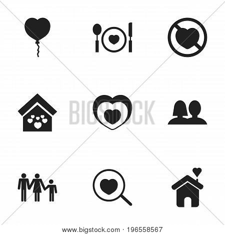 Set Of 9 Editable Amour Icons. Includes Symbols Such As Prohibit, Heartbeat, Valentine Balloons And More