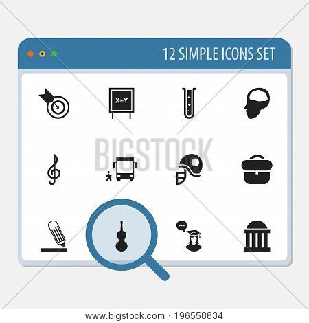 Set Of 12 Editable Science Icons. Includes Symbols Such As Cerebrum, Courtroom, Briefcase And More
