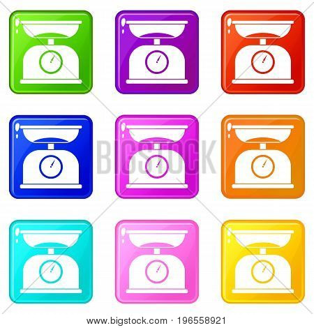 Kitchen scales icons of 9 color set isolated vector illustration