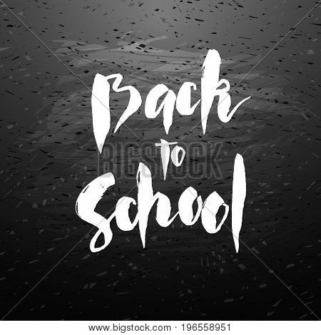 Text back to school - hand drawn lettering with chalk on blackboard. Big sale banner. Vector illustration stock vector.