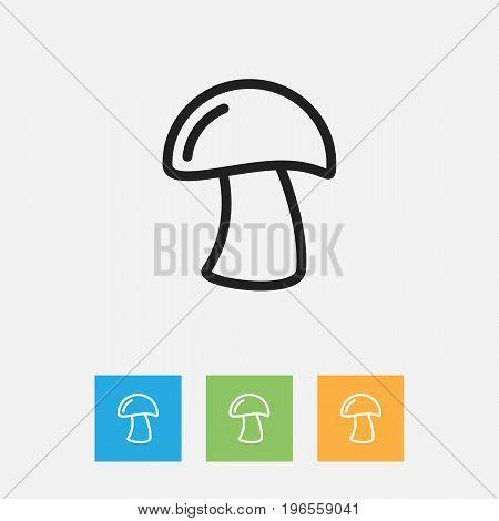 Vector Illustration Of Vegetable Symbol On Fungus Outline