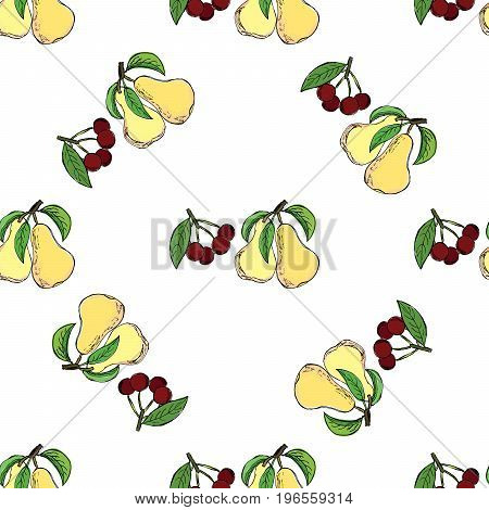Cherry pear hand drawn pattern. Object isolated.