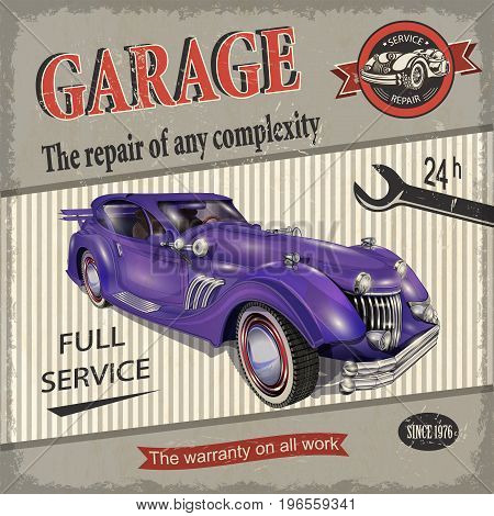 The vintage garage retro poster full service