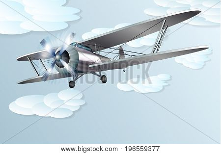 The vintage biplane high in the sky
