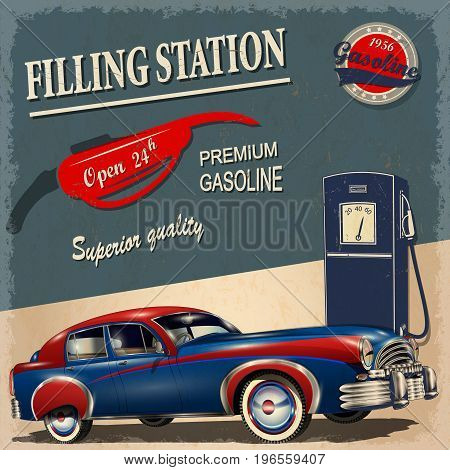 The filling station retro poster premium gasoline