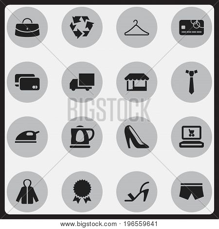 Set Of 16 Editable Trade Icons. Includes Symbols Such As Loan Card, Heel Cothurnus, Reuse And More
