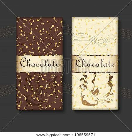Set of chocolate bar package designs with gold musical notes. Editable packaging template collection.
