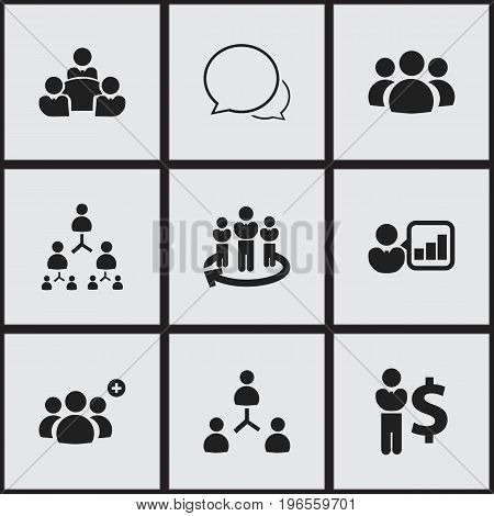 Set Of 9 Editable Cooperation Icons. Includes Symbols Such As Finance Director, Team, Staff Structure And More