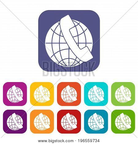 Handset and globe icons set vector illustration in flat style in colors red, blue, green, and other