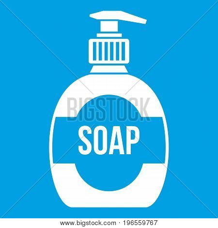 Bottle of liquid soap icon white isolated on blue background vector illustration