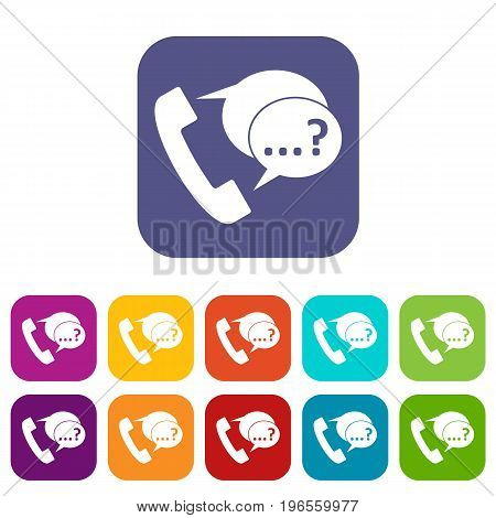 Phone sign and support speech bubbles sign icons set vector illustration in flat style in colors red, blue, green, and other