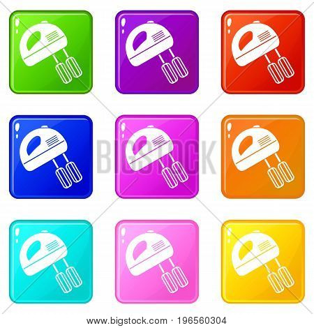 Electric mixer icons of 9 color set isolated vector illustration