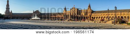 Panoroma Of Plaza De Espana In Seville, Spain, Europe