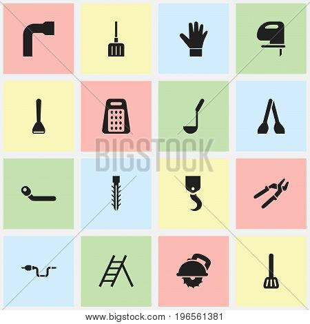 Set Of 16 Editable Apparatus Icons. Includes Symbols Such As Press Instrument, Cutter Machine, Saw And More