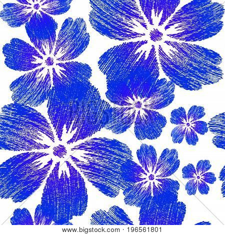 Embroidered blue flowers on white background seamless pattern. For design wallpaper cover invitation fabric and textile.