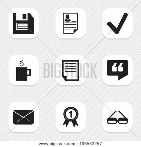 Set Of 9 Editable Office Icons. Includes Symbols Such As Comment, Mug, Floppy And More