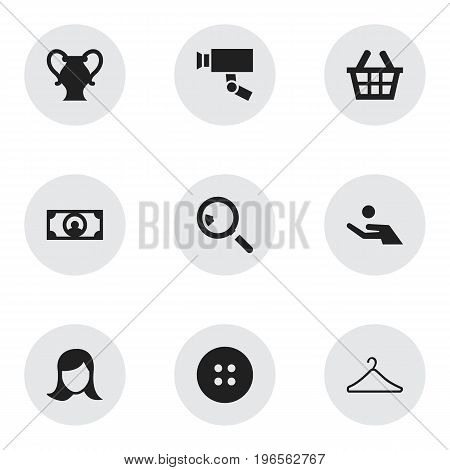 Set Of 9 Editable Shopping Icons. Includes Symbols Such As Basket, Hanger, Guard Camera And More