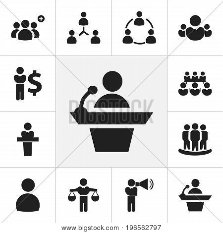Set Of 12 Editable Business Icons. Includes Symbols Such As Speaker, Talking Man, Commander